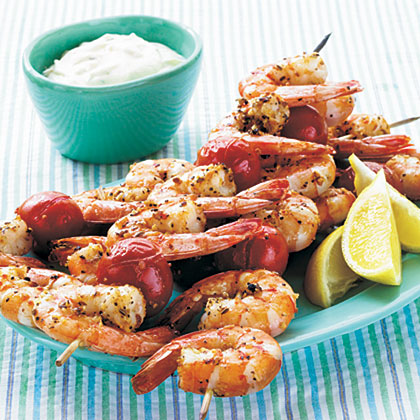 Broiled Shrimp Kebabs with Horseradish-Herb Sour Cream SauceRecipe