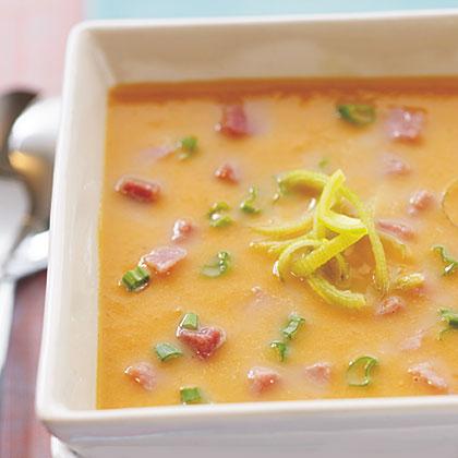 Sweet Potato, Leek, and Ham Soup