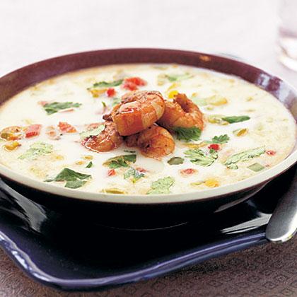 Thailändische Kokosnuss-Garnele-Suppe