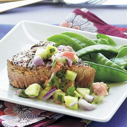 Grilled Tuna Steaks with Cucumber–Pickled Ginger Relish Recipe