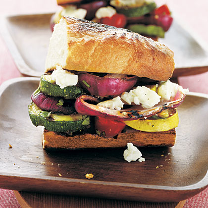 Overstuffed Grilled Vegetable-Feta Sandwiches