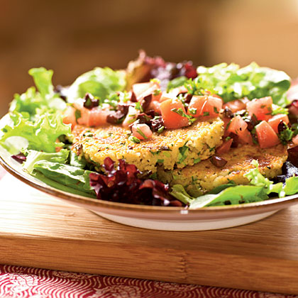 Feta and Green Onion Couscous Cakes over Tomato-Olive Salad