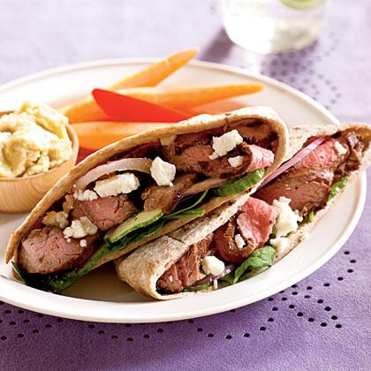 <p>Greek Steak Pitas</p>
