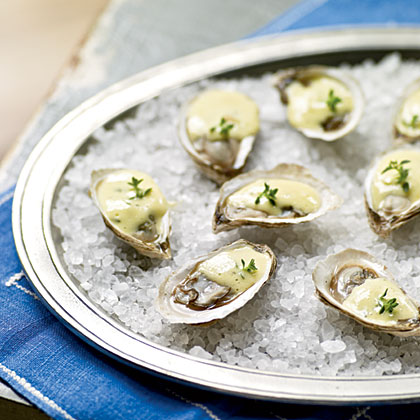 Warm Oysters with Champagne Sabayon Recipe