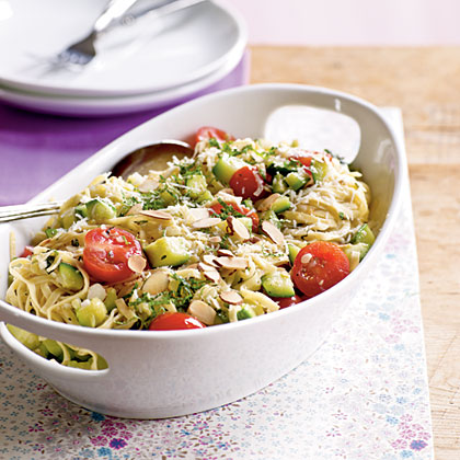 <p>Pasta with Zucchini and Toasted Almonds</p>