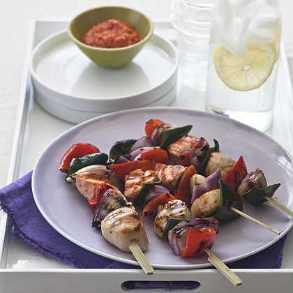 Salmon and Scallop Skewers With Romesco Sauce Recipe | MyRecipes.com