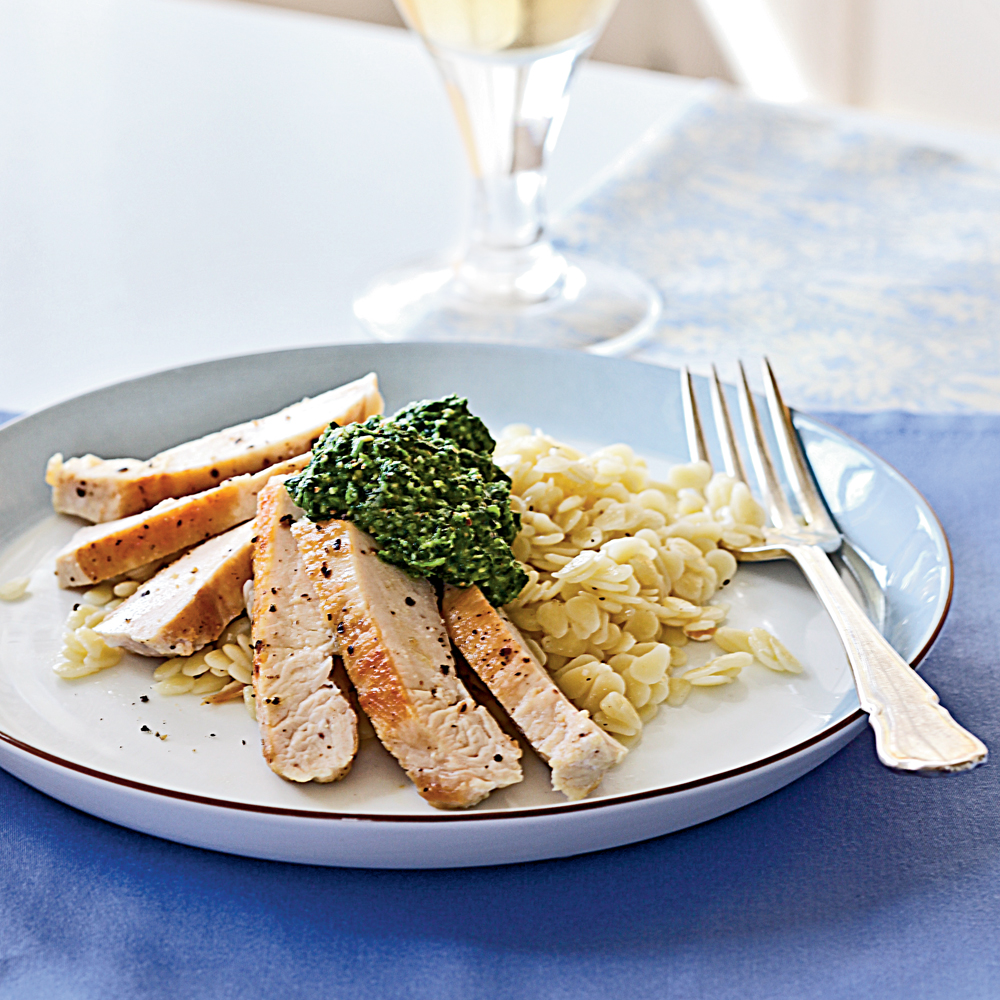 Sautéed Chicken Breasts RecipeIt's hard to find a simpler chicken dinner than sautéed chicken breasts.  Simply season with kosher salt and pepper and cook in a skillet in hot olive oil until golden brown.