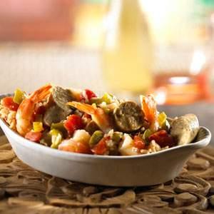 Morningstar Farm Jambalaya-Style Rice with Shrimp and Sausage Recipe