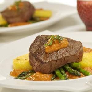 Bertolli Pan Seared Medallions of Beef Over Polenta With Creamy Tomato Sauce Recipe