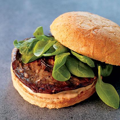 Portabello Mushroom Sandwiches with Arugula and Balsamic Aioli