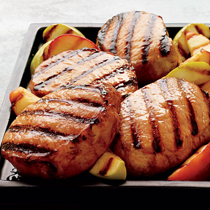 Cider-Brined Pork Chops with Grilled Apples Recipe | MyRecipes.com