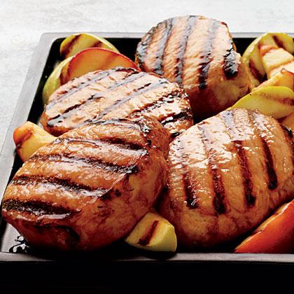 Cider-Brined Pork Chops with Grilled Apples