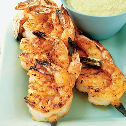 Juicy Shrimp with Roasted Chile and Avocado Sauce Recipe