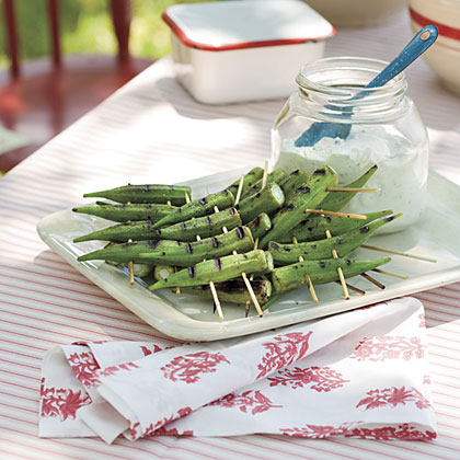 Peppery Grilled Okra With Lemon-Basil Dipping Sauce Recipe