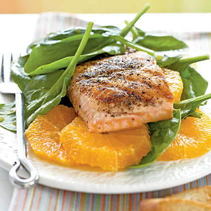 Grilled Salmon and Spinach SaladRecipe
