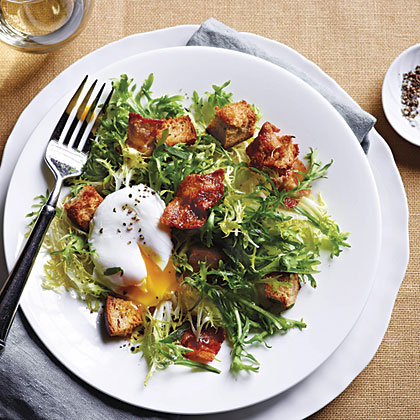French Frisee Salad with Bacon and Poached Eggs