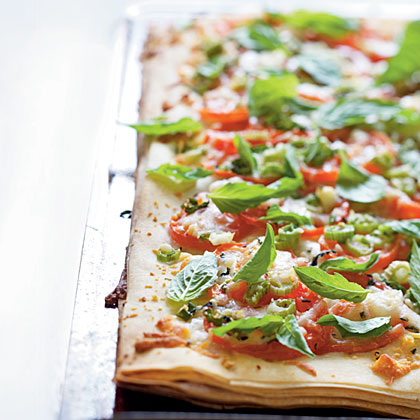 Phyllo Pizza with Feta, Basil, and Tomatoes Recipe