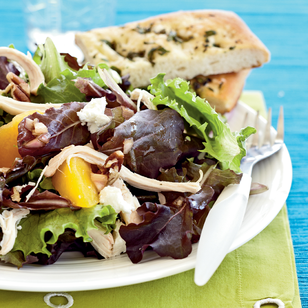 Roast Chicken Salad & Peaches, Goat Cheese, & Pecans Recipe ...
