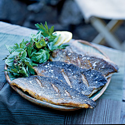 A simple mixture of fresh herbs and lemon juice adds bright flavor to fresh trout.Pan-Fried Trout with Herb Salad Recipe