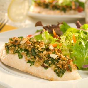 Hellmann's Mayonnaise Spinach and Almond topped ChickenRecipe