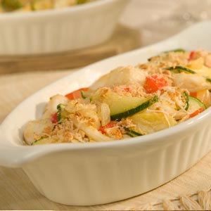 Hellmann's Mayonnaise Vegetable Crab Cake Augratin Recipe