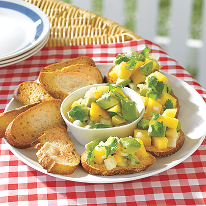 Avocado-and-Mango Salsa Crostini