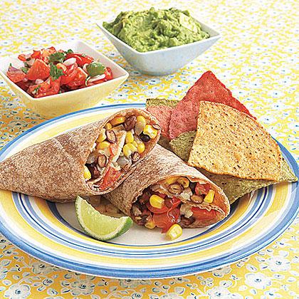 Corn, Black Bean and Pepper Jack BurritosRecipe