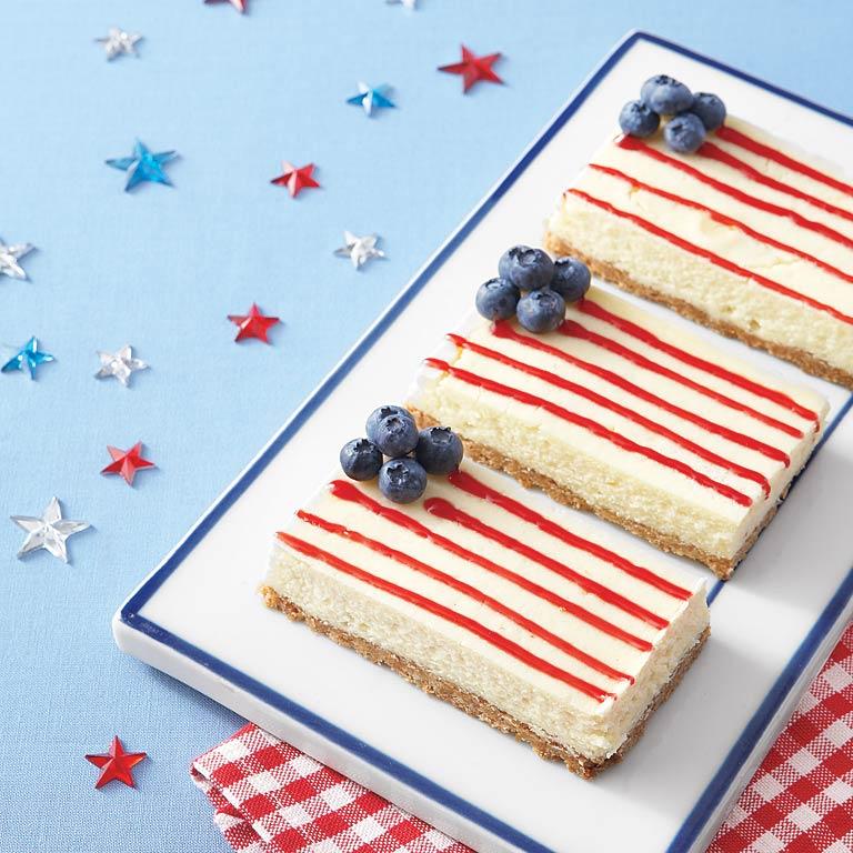 American Flag Cheesecake Bars