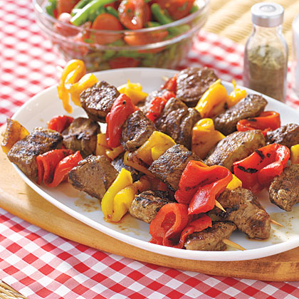 Lamb Kebabs with Roasted Peppers Recipe