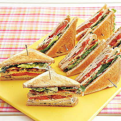 Turkey Club Sandwiches with Herb Mayonnaise RecipeMake your club sandwiches distinctive by topping the bread with a low-fat, fresh-herb mayonnaise.