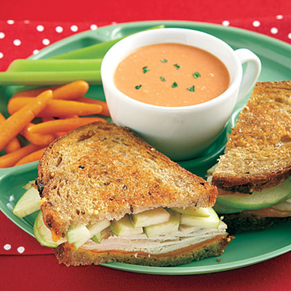 Grilled Turkey, Cheddar and Apple Sandwiches RecipeGo beyond boring grilled cheese sandwiches by adding turkey, honey mustard and Granny Smith apple slices.