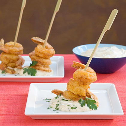 Fried Shrimp Skewers With Creole Sauce
