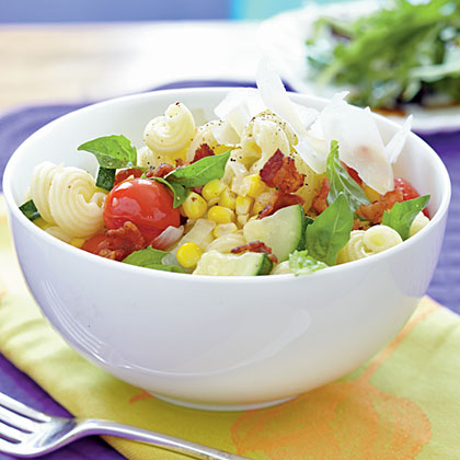 <p>Cavatappi with Bacon and Summer Vegetables</p>