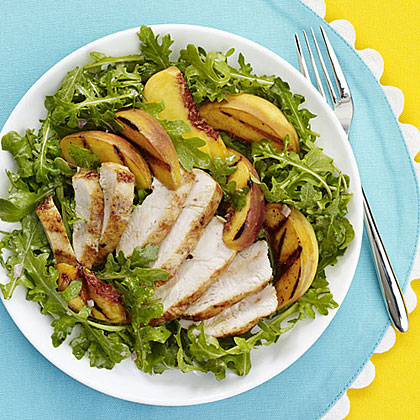 Grilled Chicken, Peach and Arugula Salad Recipe