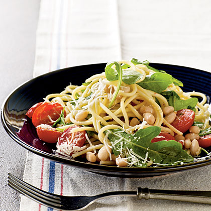 Garlicky Spaghetti with Beans and Greens Recipe