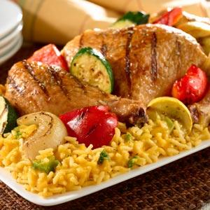 Grilled Chicken Amp Veggies Over Rice Recipe Myrecipes