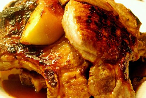 Bourbon-Glazed Pork Chops and Peaches