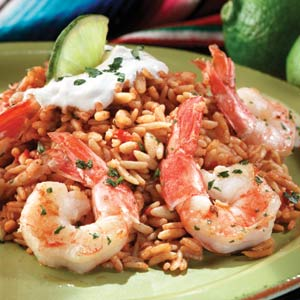 Garlic & Lime Shrimp with Spanish Rice Recipe   MyRecipes