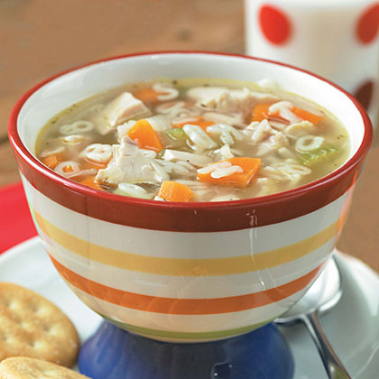 Children of all ages will enjoy practicing their spelling skills when they sit down to a comforting bowl of soup. For the mom-on-the-go, pick up a rotisserie chicken to speed up prep time, and round out this meal with sandwiches or crackers.See how easy it is to make this soup.Recipe:Alphabet Chicken Soup