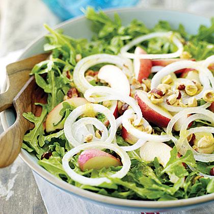 Arugula Salad with White Nectarines and Mango Chutney Dressing