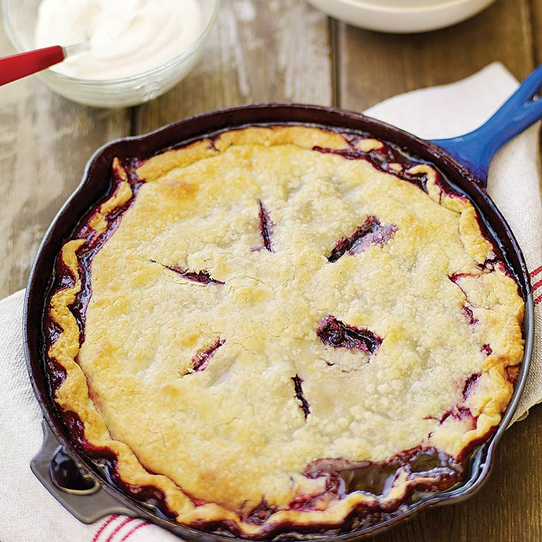 Huckleberry Skillet Cobbler RecipeOne of our all-time favorite desserts, with just a hint of spices to pull out the complex, wine-rich flavor of the huckleberries—and also delicious made with blueberries.