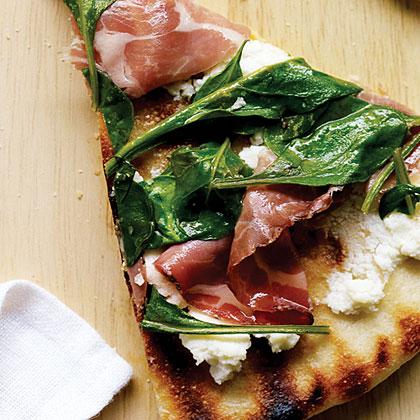 Coppa, Ricotta, and Arugula Pizza