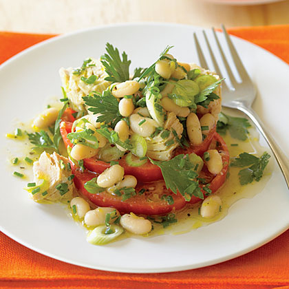 """Tomato """"Bruschetta"""" with Tuna and Cannellini Salad Recipe"""