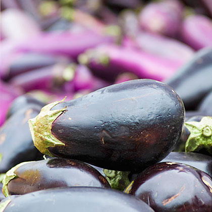 Eggplant has a unique taste and texture making it an ideal ingredient in a variety of dishes. Whether you plan to bake, broil or grill this fruit, you'll receive a ton of nutrients and health benefits. Eggplant is low in calories and sodium, and is a great source of dietary fiber, potassium, and B vitamins. The next time you're admiring a bright eggplant, just think of all the antioxidants and minerals it provides.
