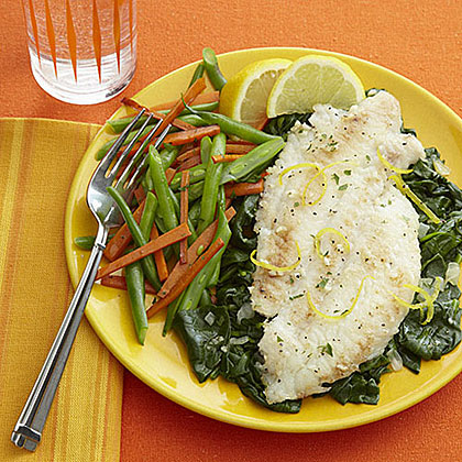 Lemon-Garlic Broiled Flounder with Spinach Recipe