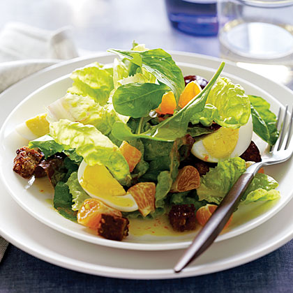 Red Butterhead Lettuce and Arugula Salad with Tangerines and Hard-Cooked Eggs Recipe