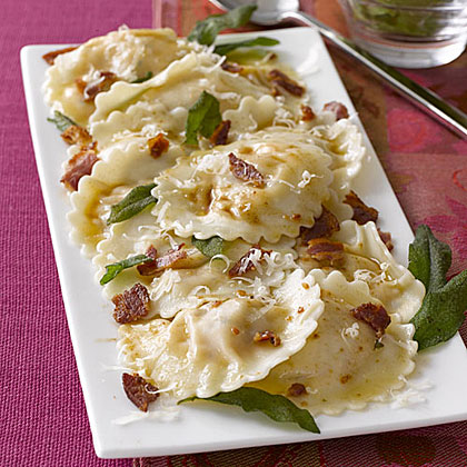 Butternut Squash Ravioli with Sage RecipeTwo of our loves, ravioli and pancetta, come together to make a delicious and filling easy weeknight dinner.