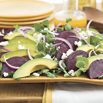 Beet, Goat Cheese, and Avocado Salad