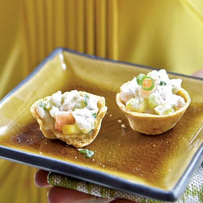 Corn Cups with Salsa Shrimp Salad