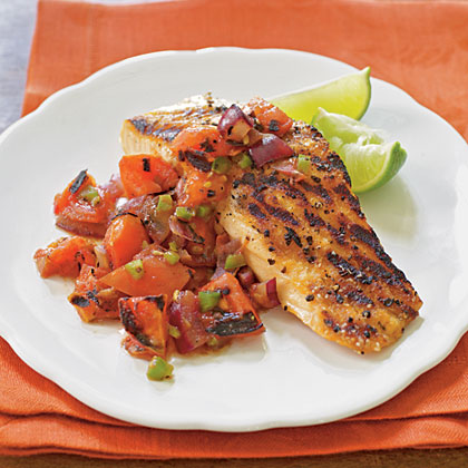 Grilled Salmon with Smoky Tomato Salsa Recipe | MyRecipes.com